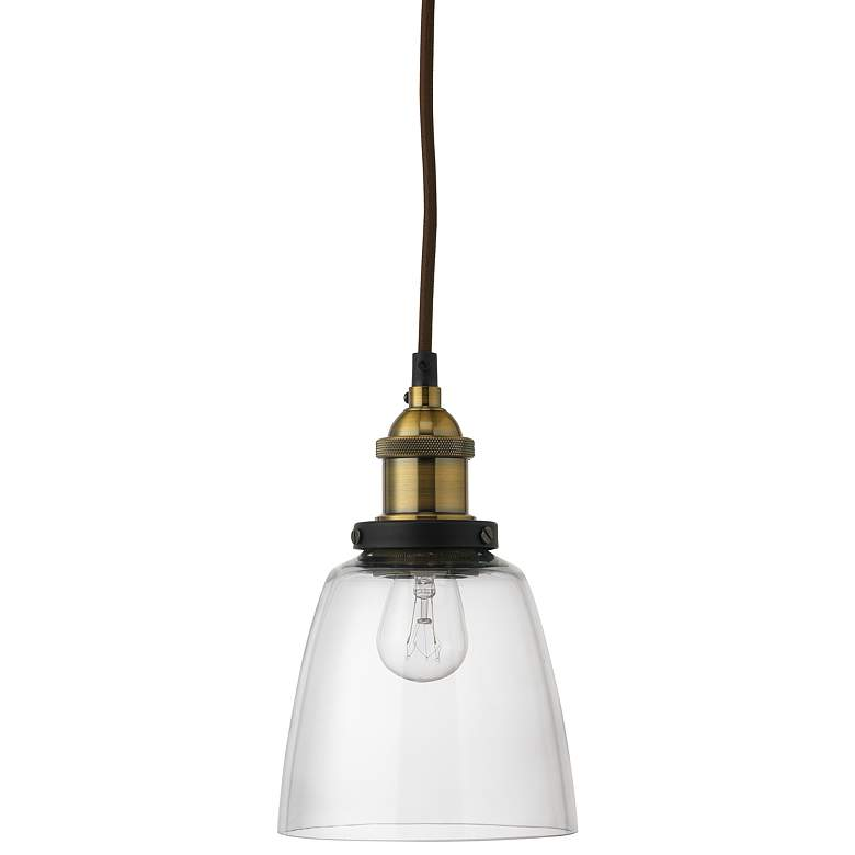 "Factory 5 1/2"" Wide Clear Glass and Brass Dome Mini Pendant"
