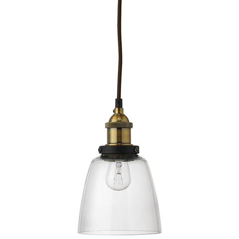 """Factory 5 1/2"""" Wide Clear Glass and Brass Dome Mini Pendant"""