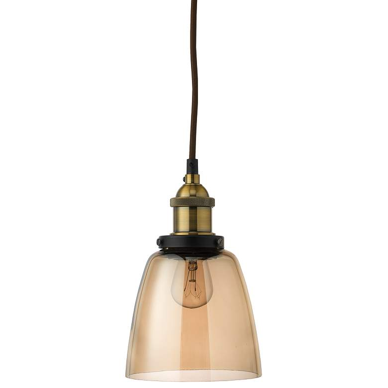 """Factory 5 1/2"""" Wide Brass and Gold Glass Dome Mini Pendant"""