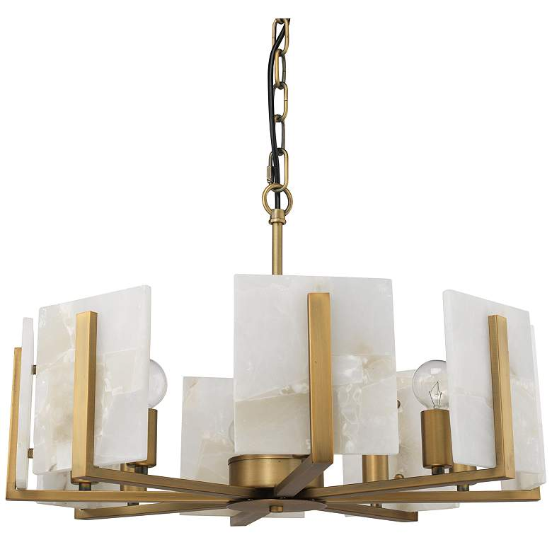 """Jamie Young Halo 21"""" Wide Brass and Alabaster Chandelier"""