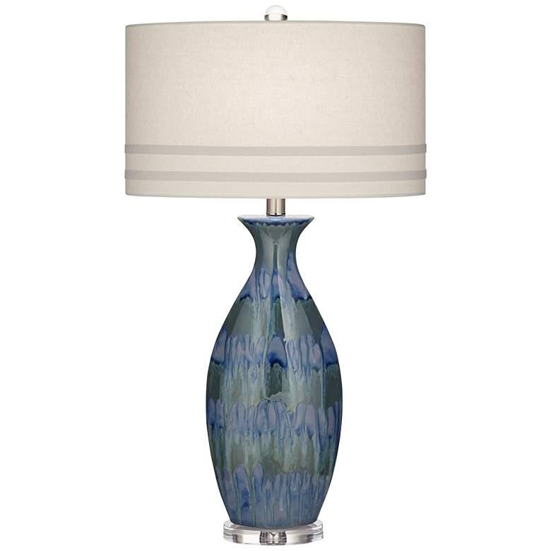 Possini Euro Annette Blue Drip Ceramic Table Lamp