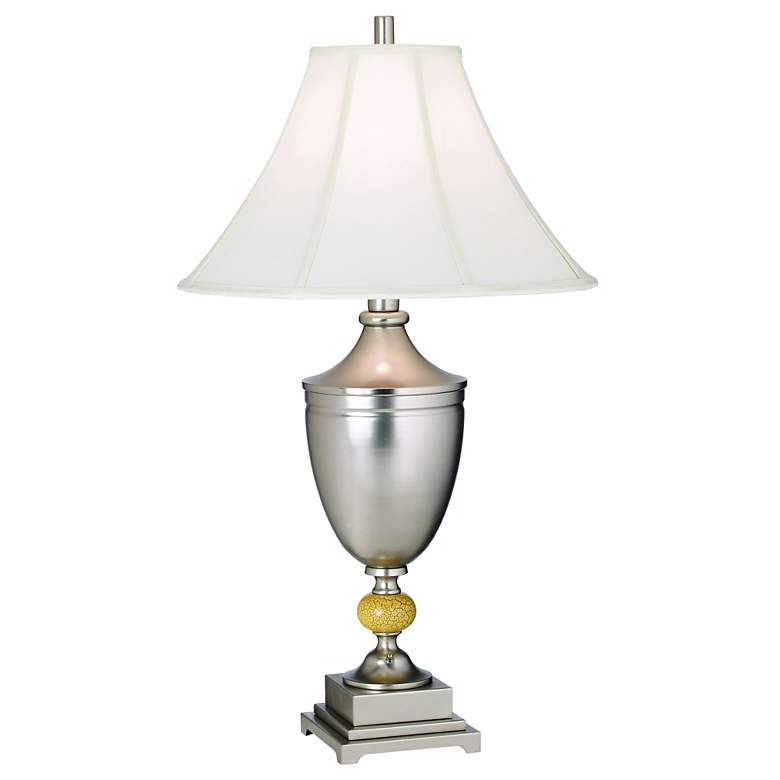 1V361 - Brushed Nickel Urn Table Lamp W/ Ivory Ball Accent