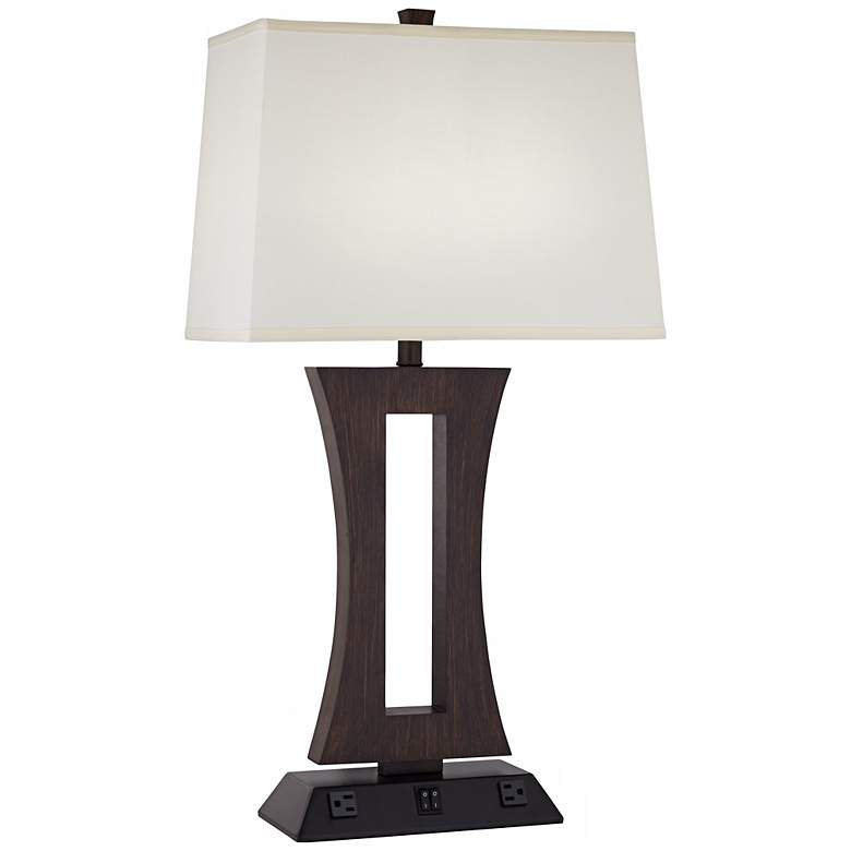 1V365 - Urban Coffee Cut-out Metal Table Lamp W/ Outlets