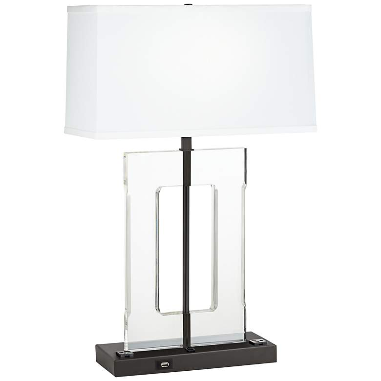 1V424 - Antique Gold and Acrylic Rectangular Table Lamp