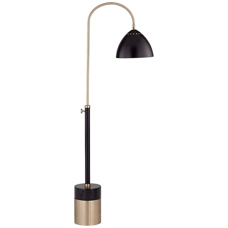 Archer Dome Shade Black Marble Floor Lamp