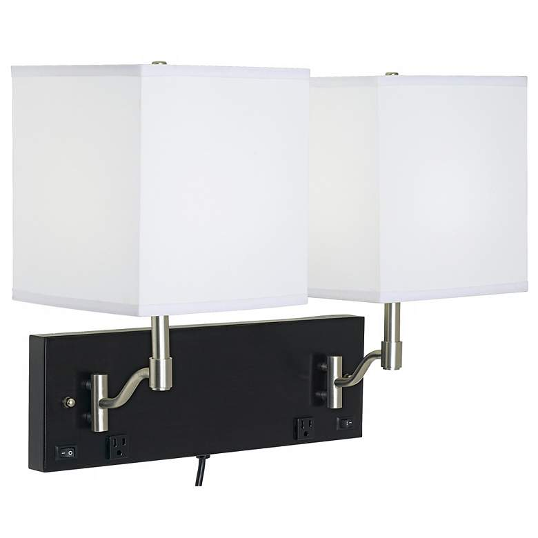 1V482 - Espresso and Brushed Nickel 2-Light Wall Lamp