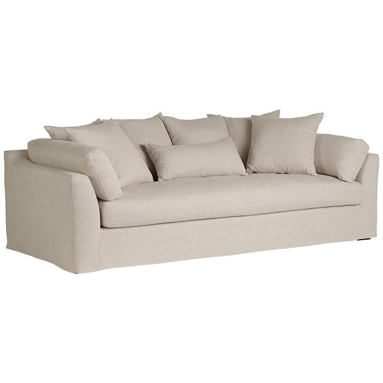 "Chateau 99"" Wide Linen Fabric Slipcover Sofa"