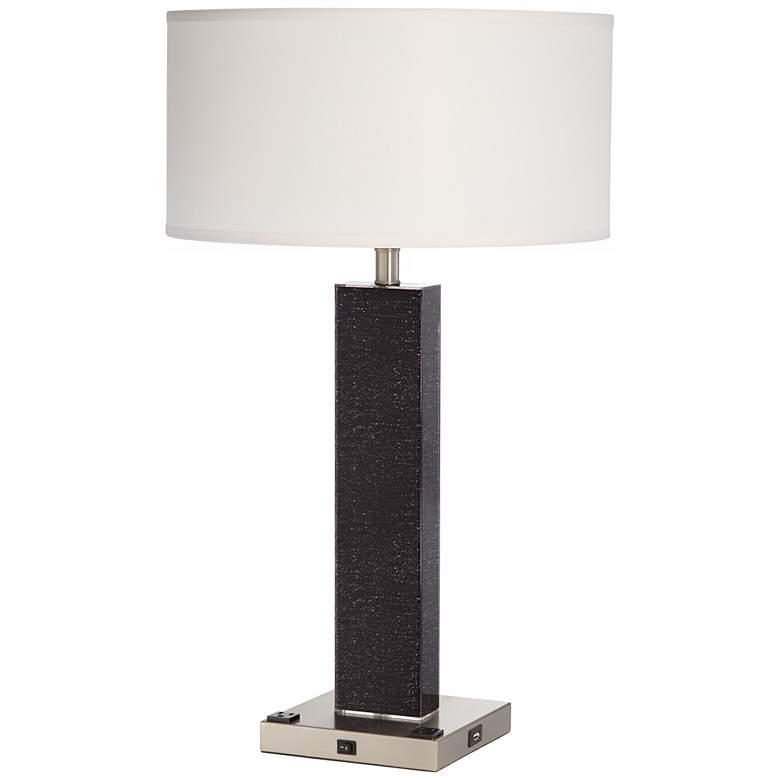 1V515 - Brushed Nickel/ Steel Silk Screened Table Lamp