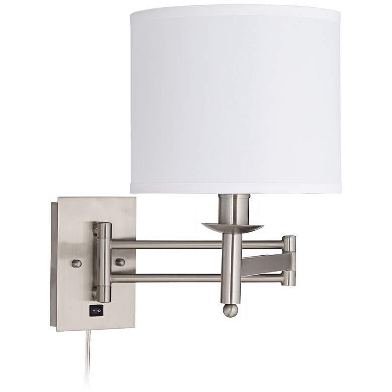 1V590 - Brushed Nickel Plug-In Swing Arm Wall Lamp
