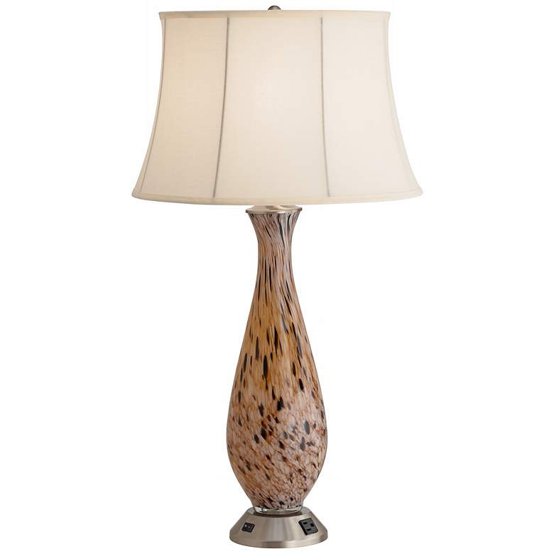 1V629 - Brown and Gold Glass Table Lamp with Outlet