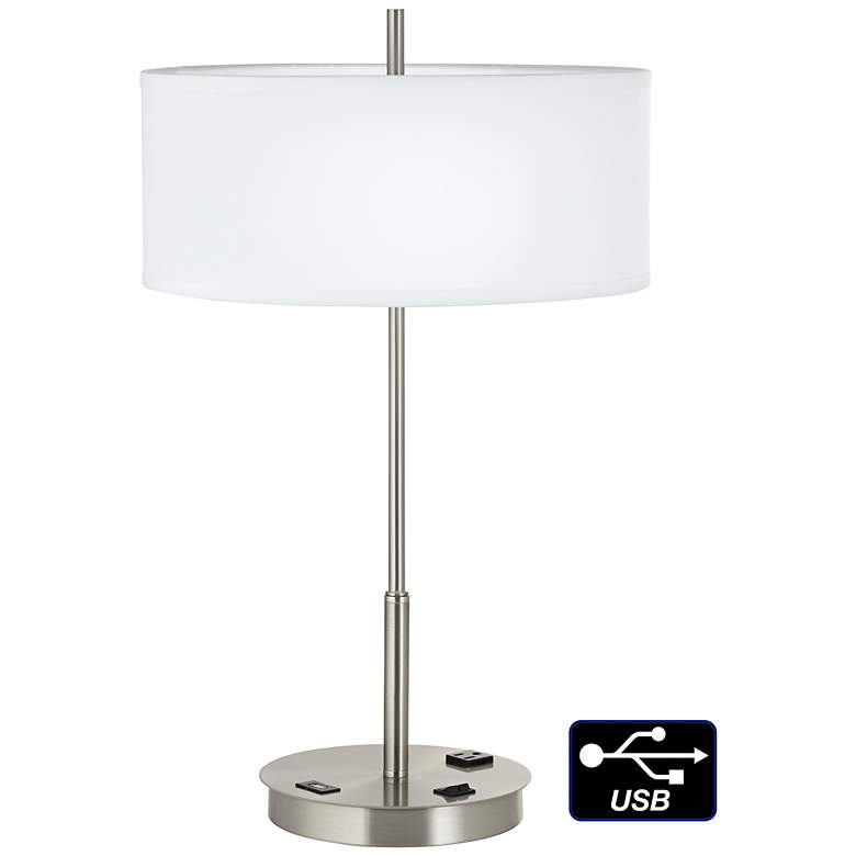 1V651 - Brushed Nickel and Linen Table Lamp