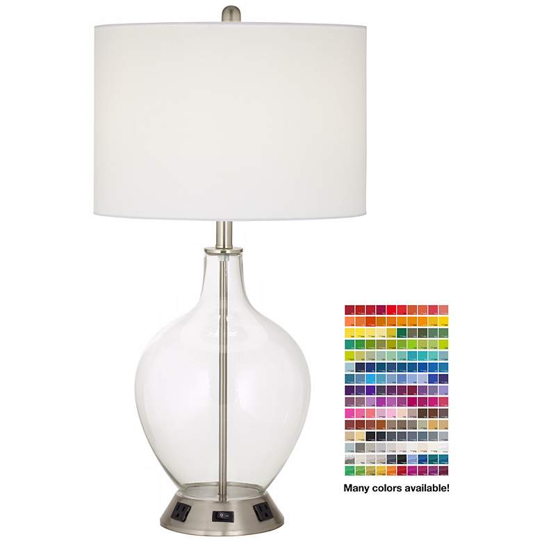 1V667 - Brushed Nickel and Glass Jar Table Lamp W/ Outlets