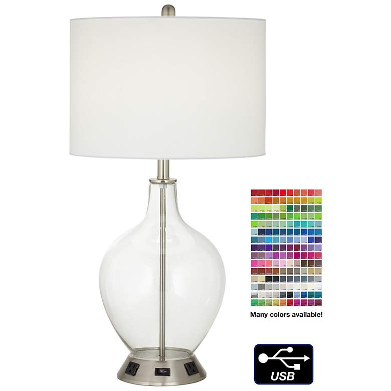 1V670 - Polished Nickel Glass Jar Table Lamp with USB Port