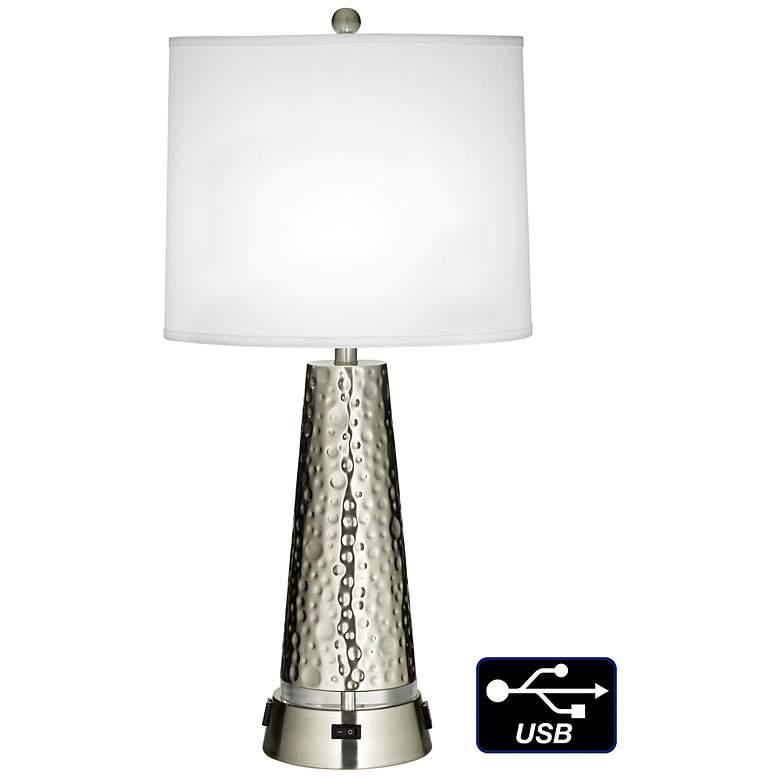 1V690 - Polished Nickel Metal Column Table Lamp W/ USB