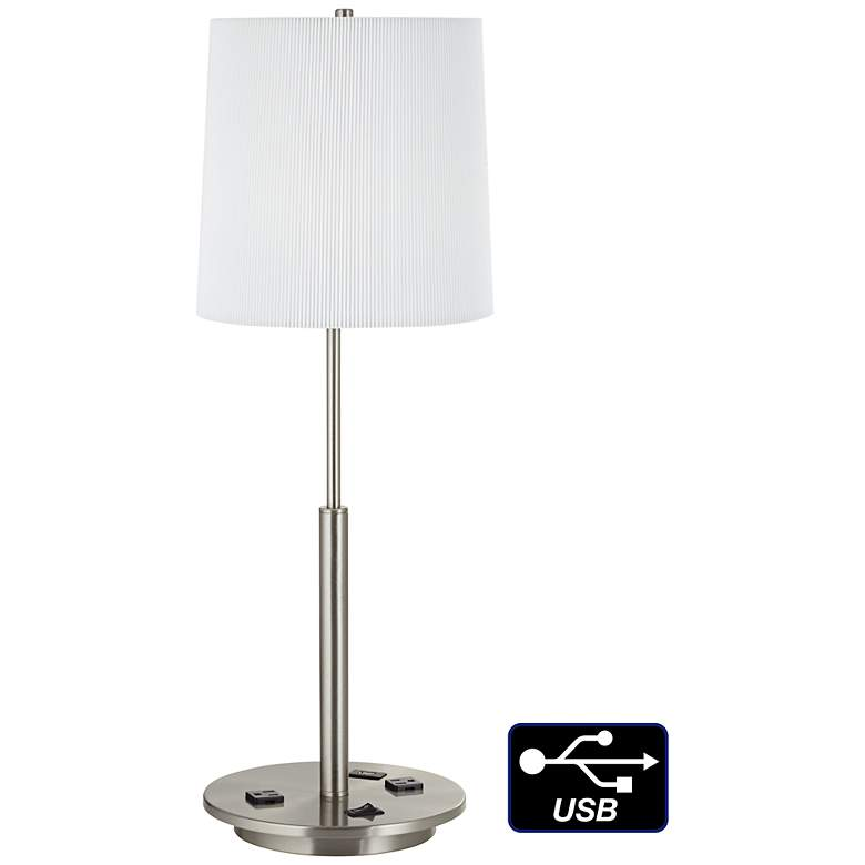 1V697 - Brushed Nickel Metal Table Lamp with USB