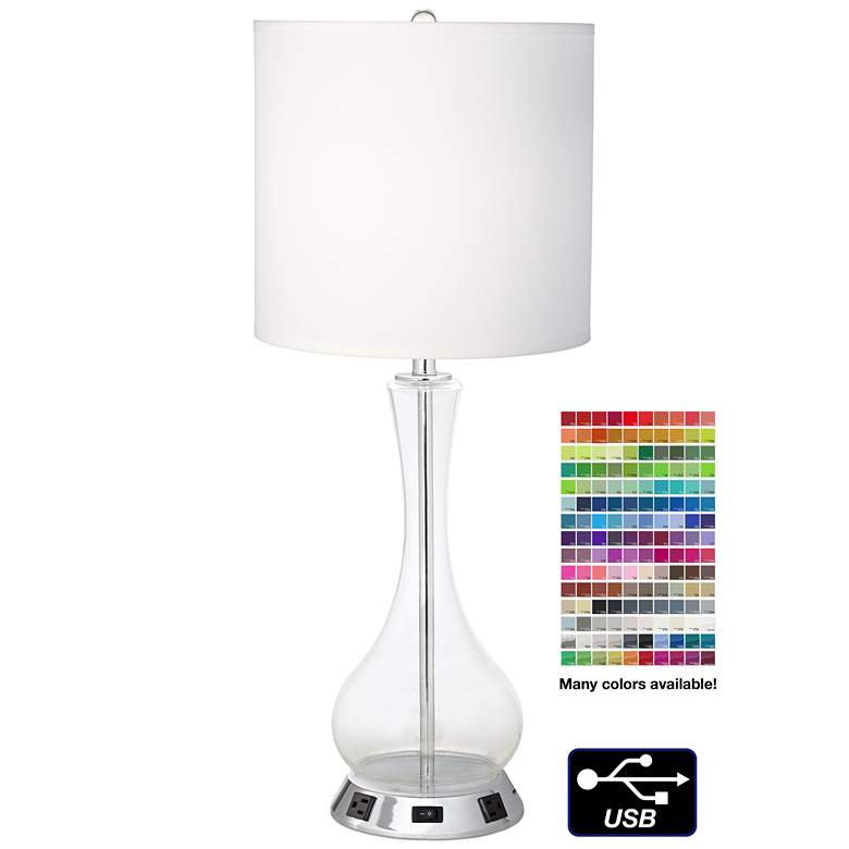 1V747 - Brushed Nickel and Clear Glass Table Lamp W/ USB