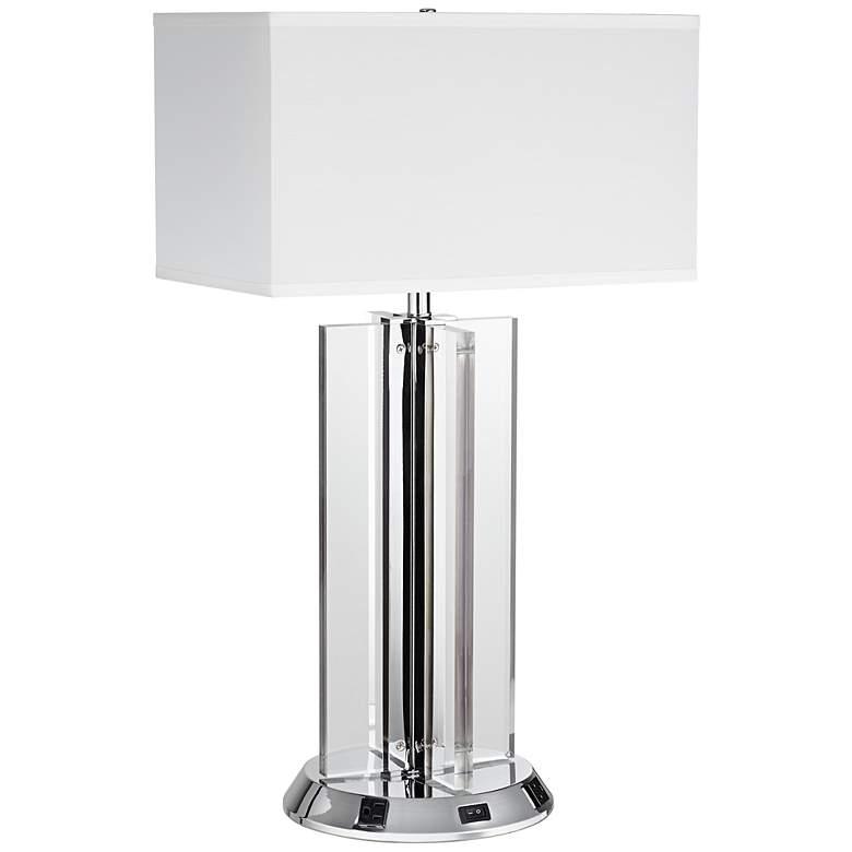 1V791 - Polished Chrome Metal Table Lamp w/ Workstation Base