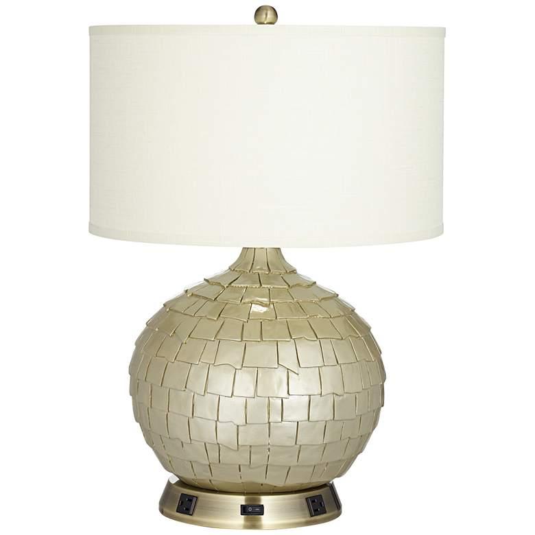 1V805 - Antique Brass Metal Table Lamp w/ Brass Harp