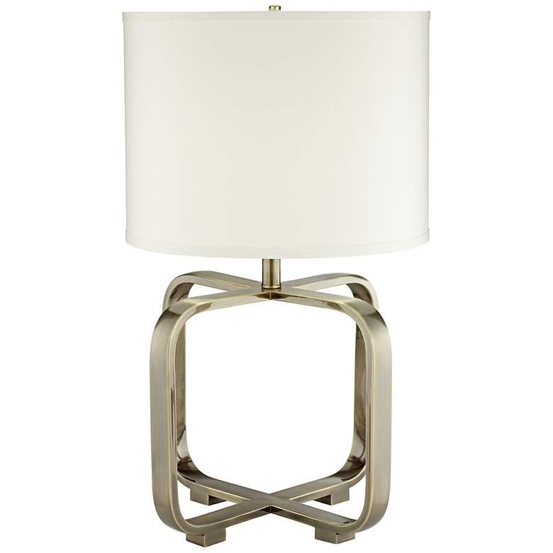1V878 - Antique Brass Table lamp w/ Chrome Harp