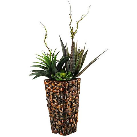 """Mixed Agave, Succulents and Echeveria 36""""H in Tall Basket"""