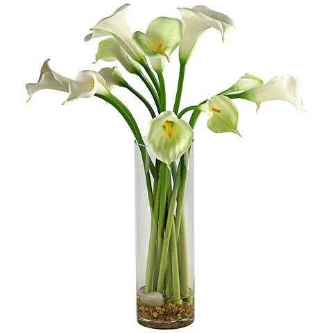 """Calla Lilies 27"""" High Faux Flowers in Tall Glass Vase"""