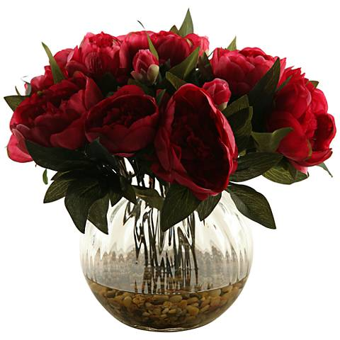 "Burgundy Peonies 14"" High in Glass Ball Vase"