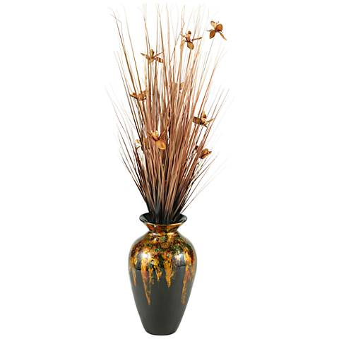 "Copper Ting with Copper Blossoms 56"" H in Spun Bamboo Vase"