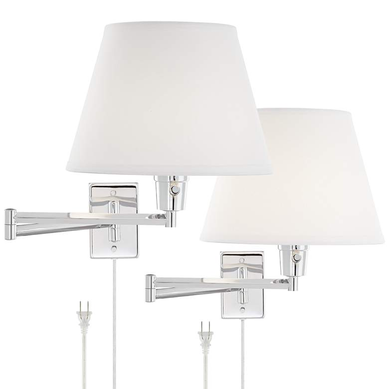 Clement Chrome Swing Arm Wall Lamp Set of 2