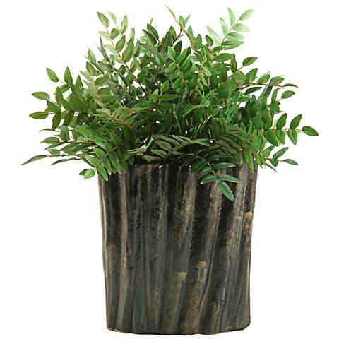 "Green Locust Spray 19"" High in Oval Ceramic Planter"