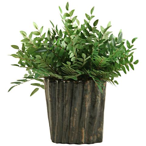 "Green Locust Spray 17"" High in Oval Ceramic Planter"