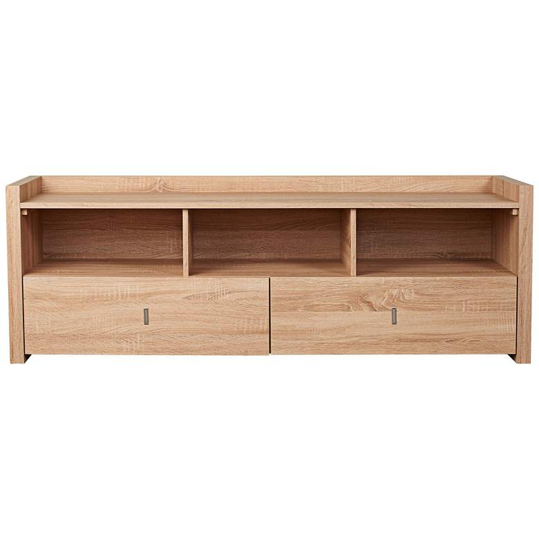 """Morgana 60"""" Wide Weathered Sand Wood 2-Drawer TV Stand"""