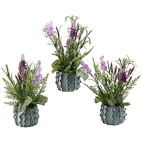 "Lavender 12"" High in Set of 3 Small Ceramic Planters"