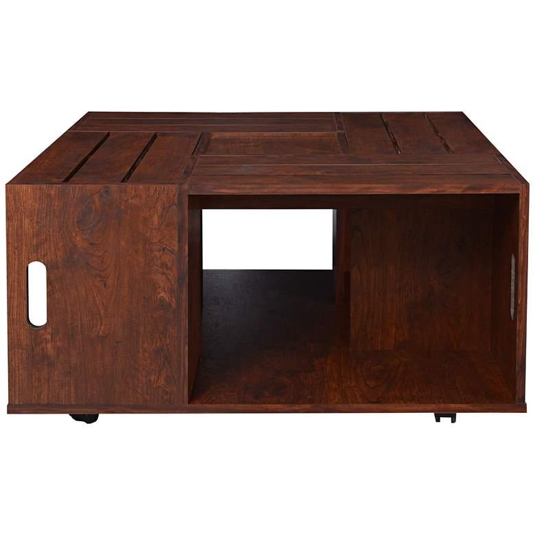"Portins 31 1/2"" Square Rustic Walnut Wood Coffee Table"