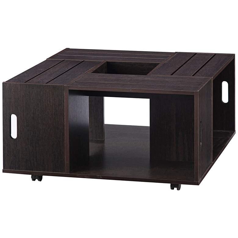 "Portins 31 1/2"" Square Rustic Espresso Wood Coffee Table"