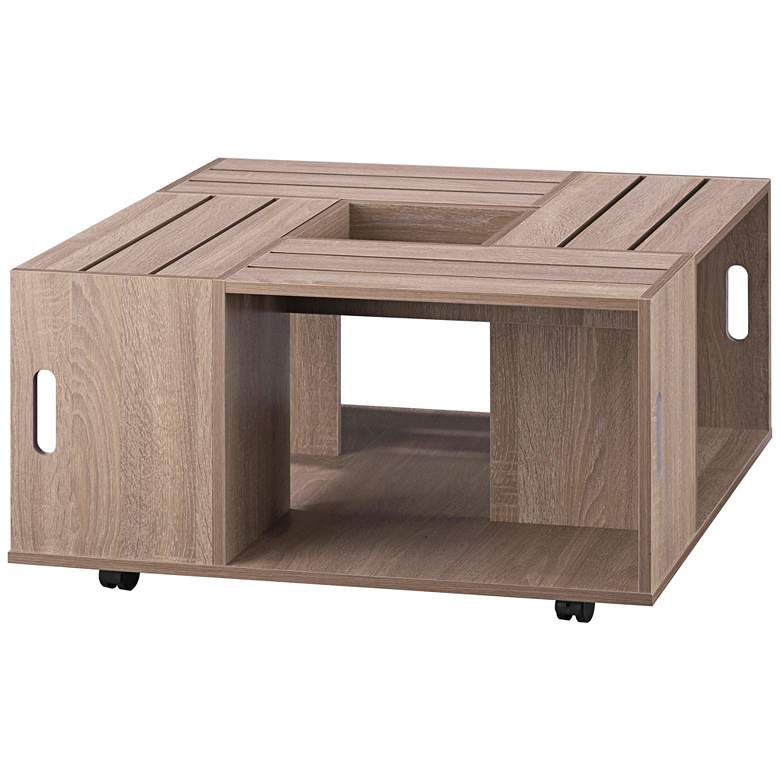 """Portins 31 1/2"""" Square Weathered White Wood Coffee Table"""