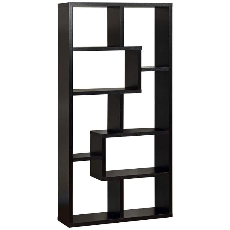 """Reena 71"""" High Black Wood Modern Geometric Bookcase"""