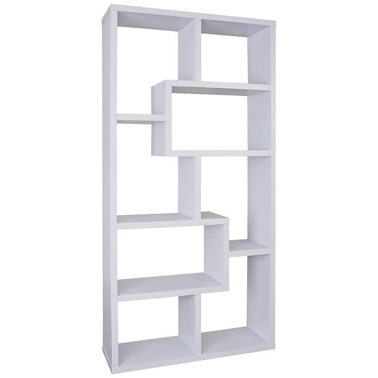 """Reena 71"""" High White Wood Modern Geometric Bookcase"""