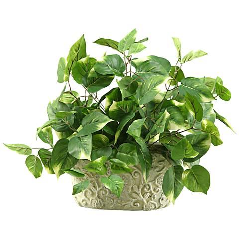 "Green Pothos 18"" Wide in Oblong Ceramic Planter"