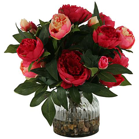 """Burgundy and Pink Peonies 15"""" High in Ribbed Glass Vase"""