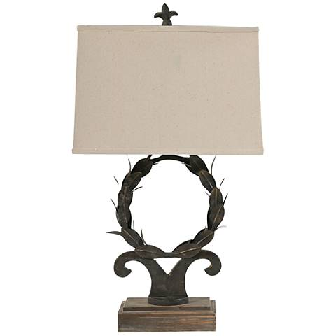Wreath Rust Bronze Wood Table Lamp