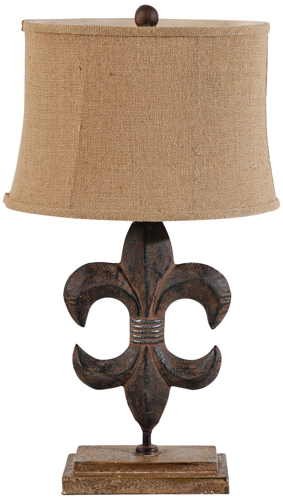 Chenal Fleur De Lis Bronze Metal Table Lamp