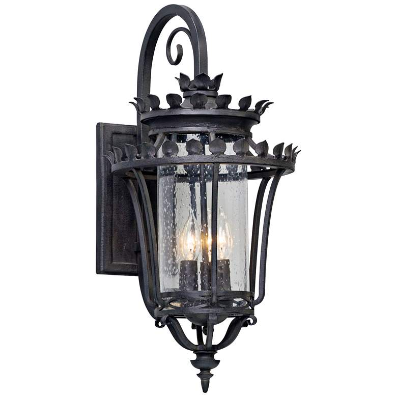"Greystone 23"" High Forged Iron Outdoor Wall Light"
