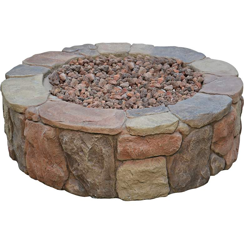 "Madera 36"" Wide Rustic Stone Propane Gas Fire Pit"