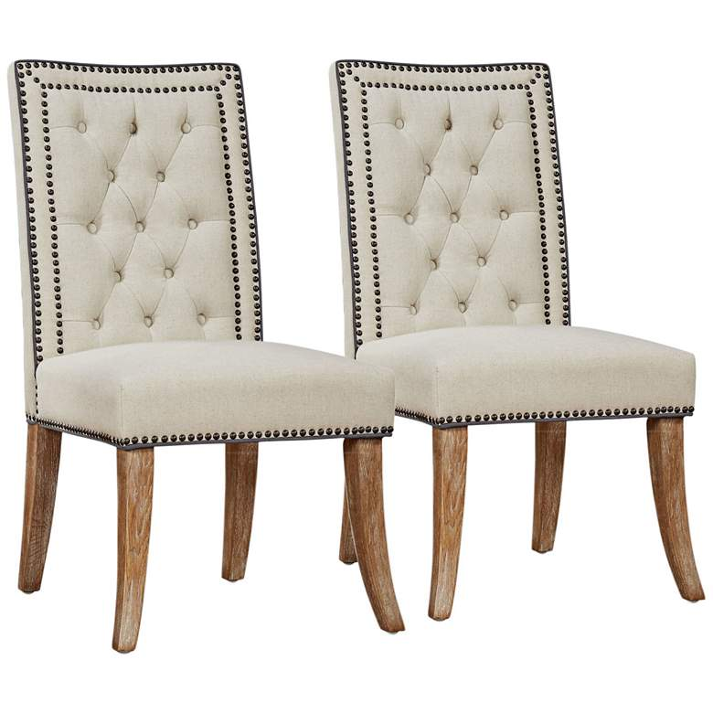 Garrett Beige Linen Tufted Dining Chair Set of 2