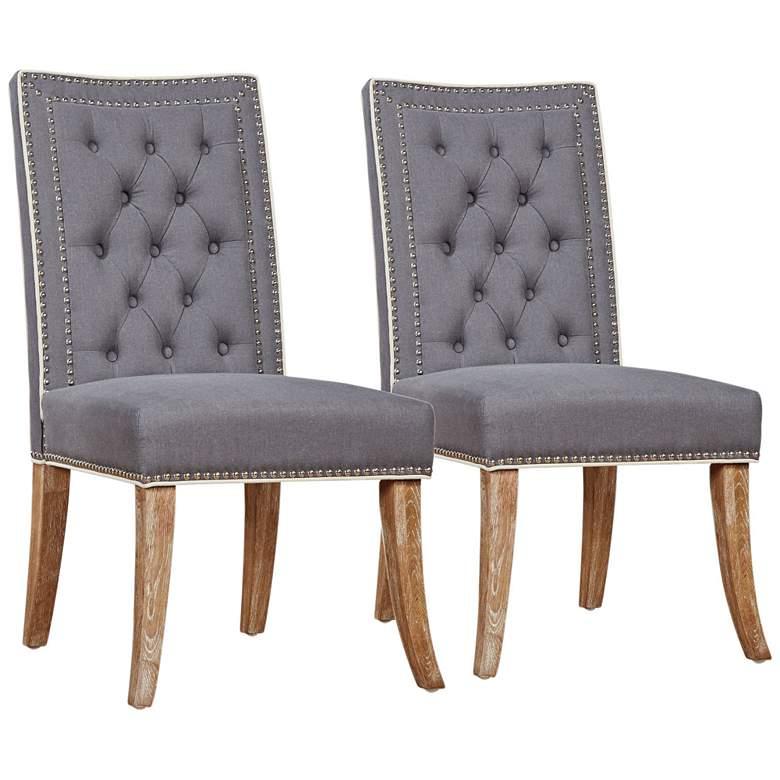 Garrett Gray Linen Tufted Dining Chair Set of