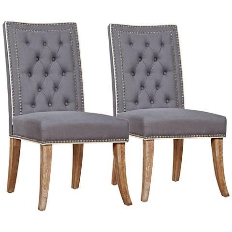 Garrett Gray Linen Tufted Dining Chair Set of 2