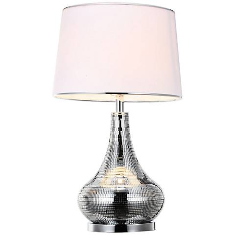Isabell Silver Mirrored Glass Table Lamp