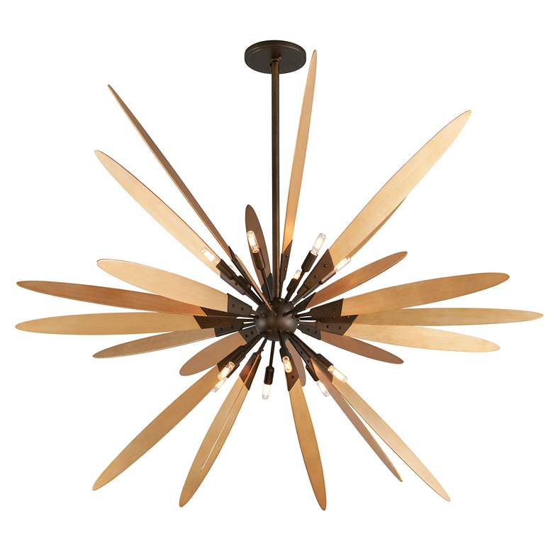 """Dragonfly 72"""" Wide Bronze with Satin Leaf Pendant Light"""