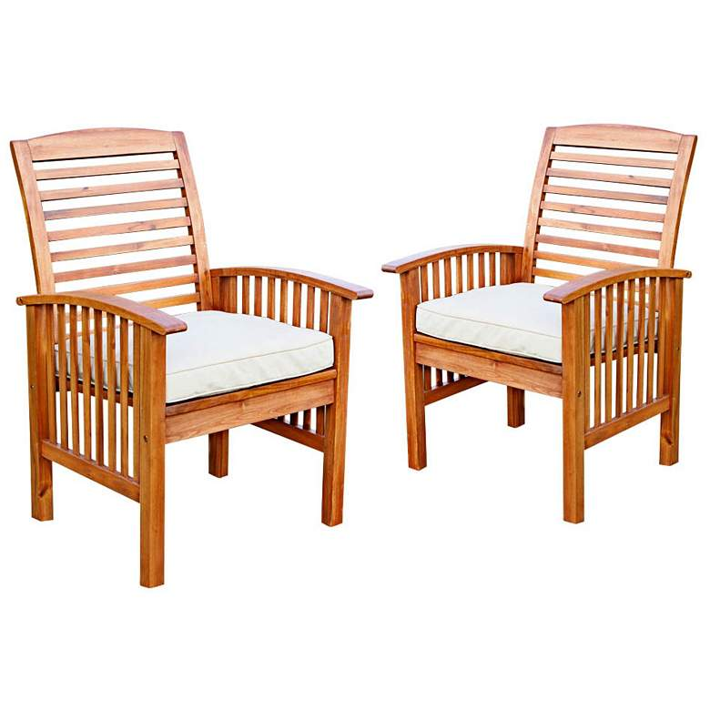 Brennan Brown Acacia Patio Chairs with Cushions Set