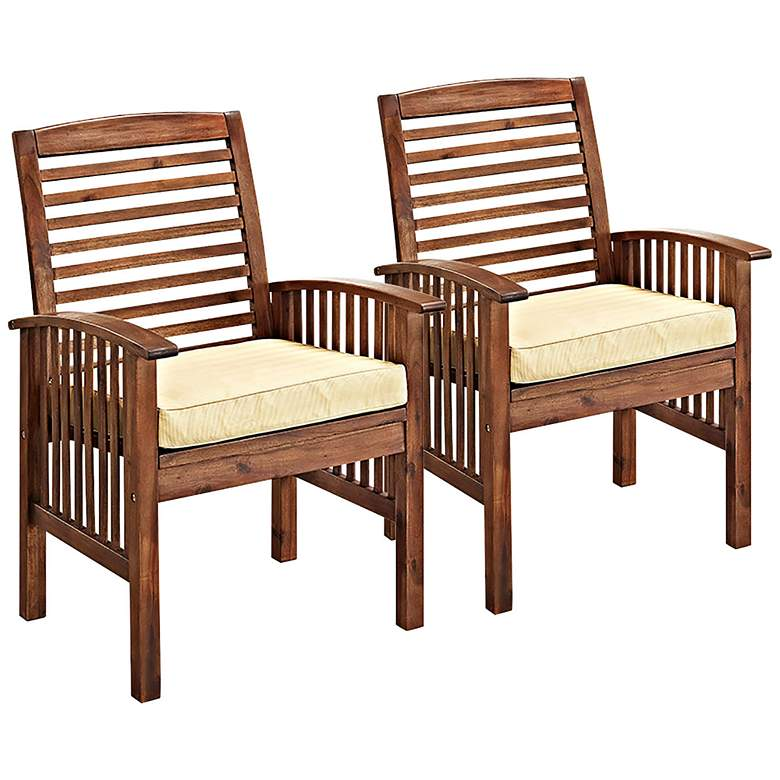 Brennan Dark Brown Patio Chairs with Cushions Set